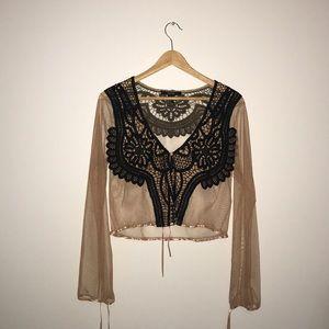 Lace blouse, brown + black